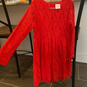 GIRLS RED LACE HOLIDAY DRESS SZ 5/6